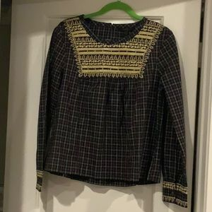 NWT J.Crew Embroidered Plaid Peasant Top M